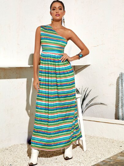 Striped One Shoulder A-line Dress