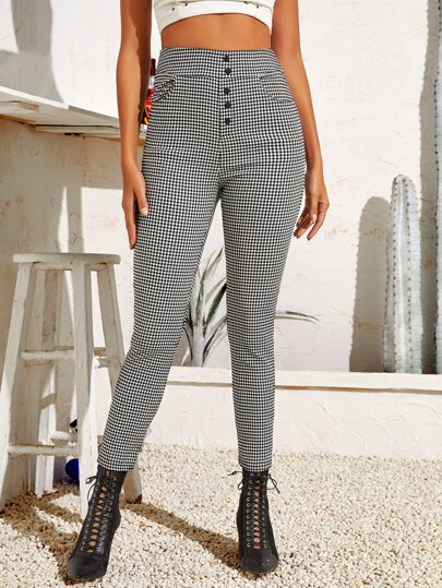 Gingham Single Breasted Skinny Pants