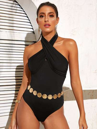 Criss Cross Front Halter Bodysuit Without Belt