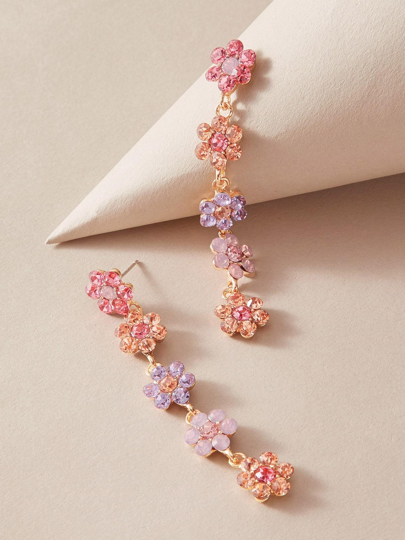 1pair Rhinestone Decor Flower Drop Earrings thumbnail