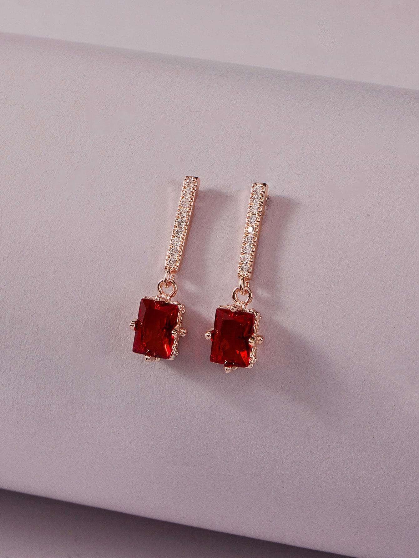 1pair Gemstone Drop Earrings thumbnail