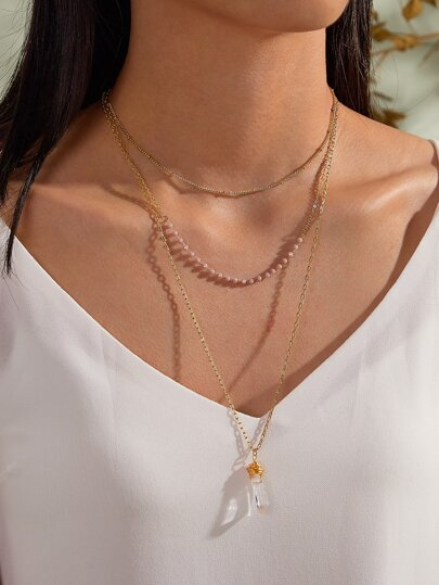 1pc Crystal Charm Layered Necklace