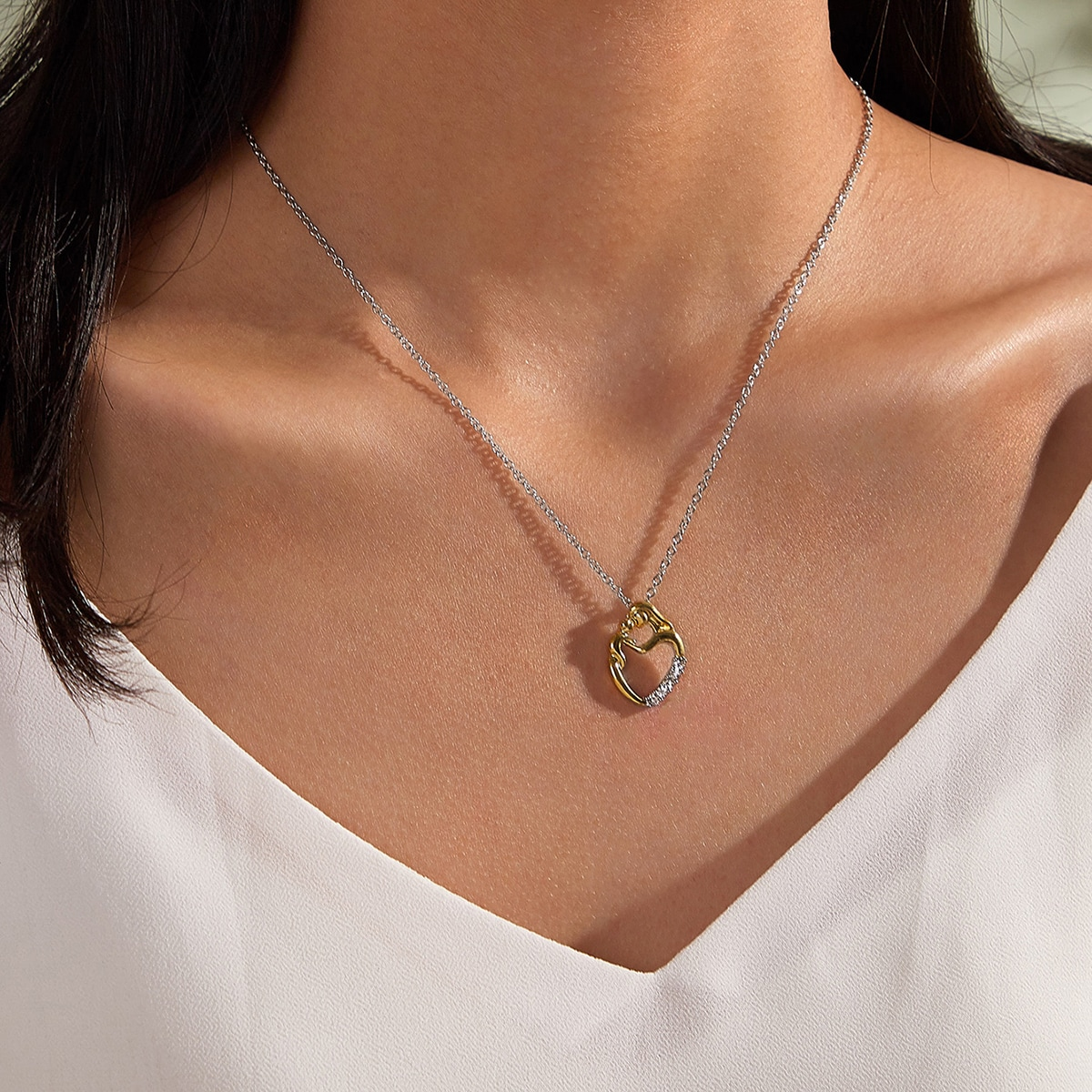 1pc Mothers Day Mother Kiss Kid Pendant Necklace