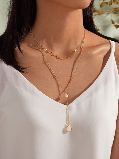 1pc Pearl Decor Layered Y Lariat Necklace