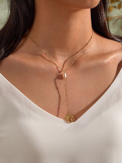 1pc Pearl Decor Y Lariat Necklace