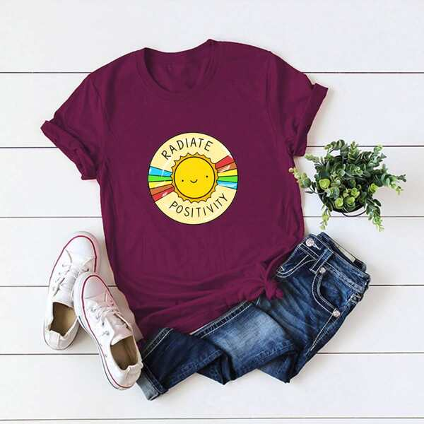 Plus Sun & Letter Graphic Tee, Burgundy