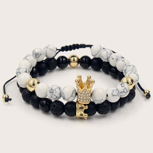 2pcs Men Marble Pattern Beaded Bracelet, Black and white