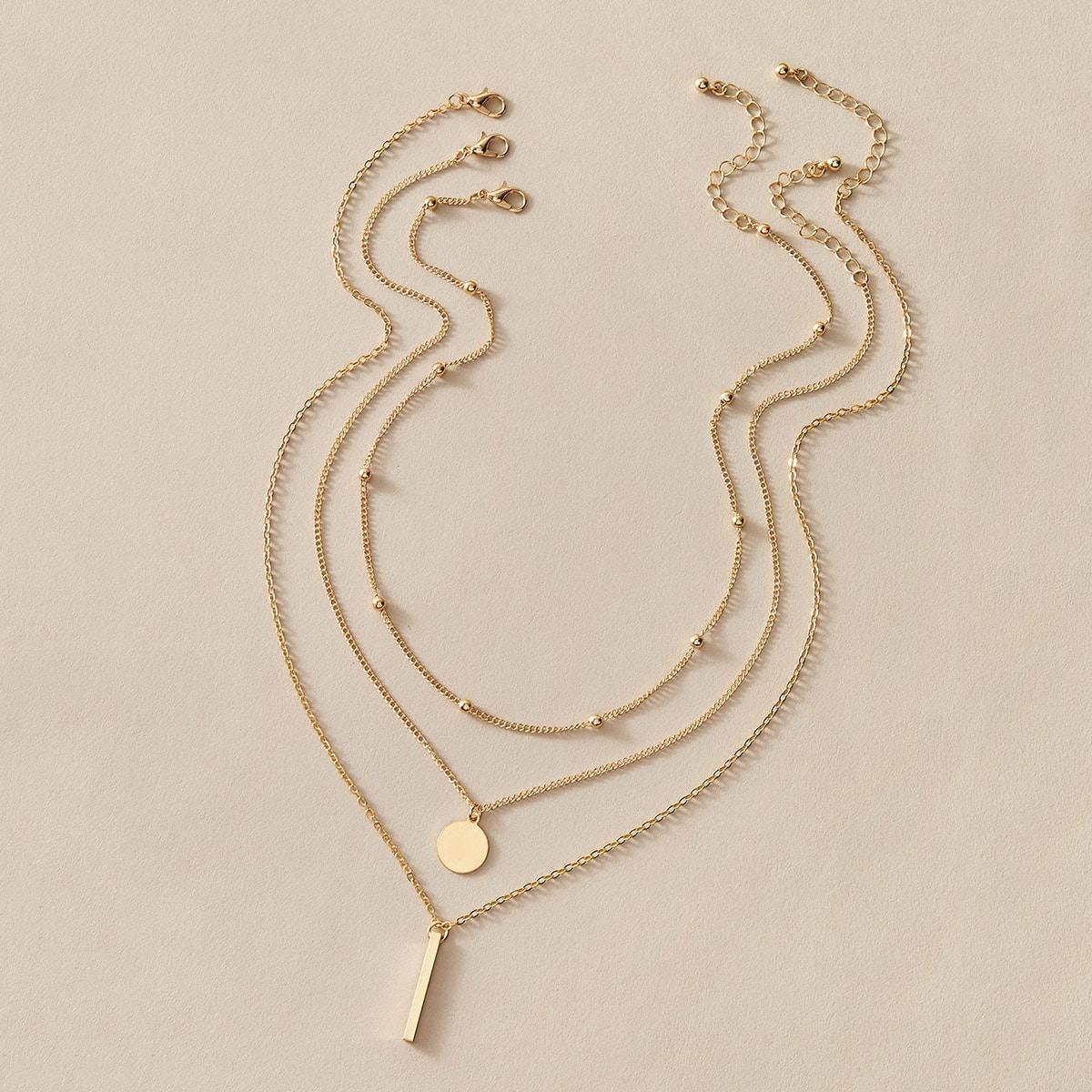 3 Stücke Bar & Disc Charm Halskette