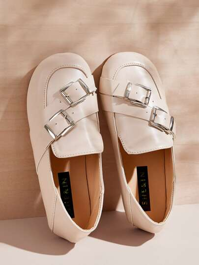 Buckle Strap Decor Flat Loafers