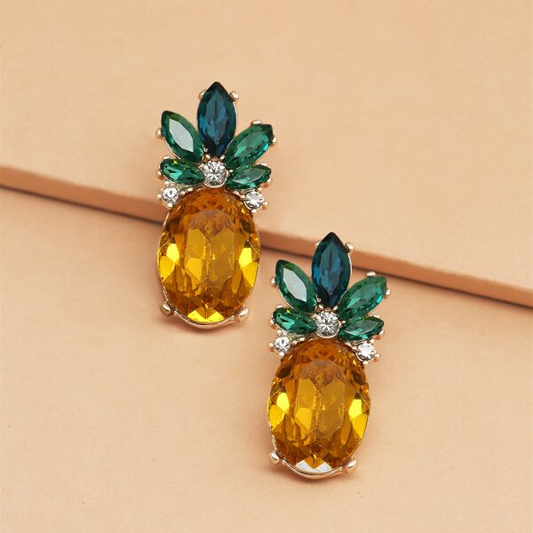 1pair Rhinestone Pineapple Stud Earrings, Multicolor