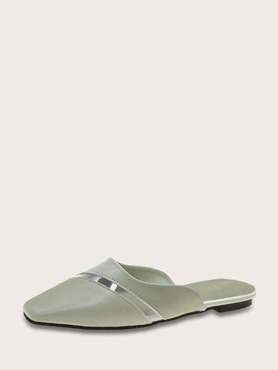 Square Toe Clear Panel Flat Mules