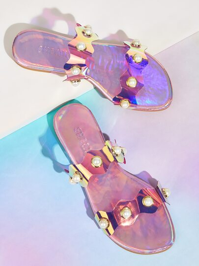 Faux Pearl Decor Holographic Sliders