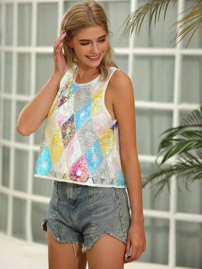 D&M Keyhole Back Geo Sequin Tank Top