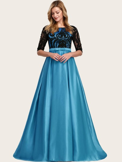 EverPretty Bow Detail Lace Bodice Boxy Pleat Satin Prom Dress