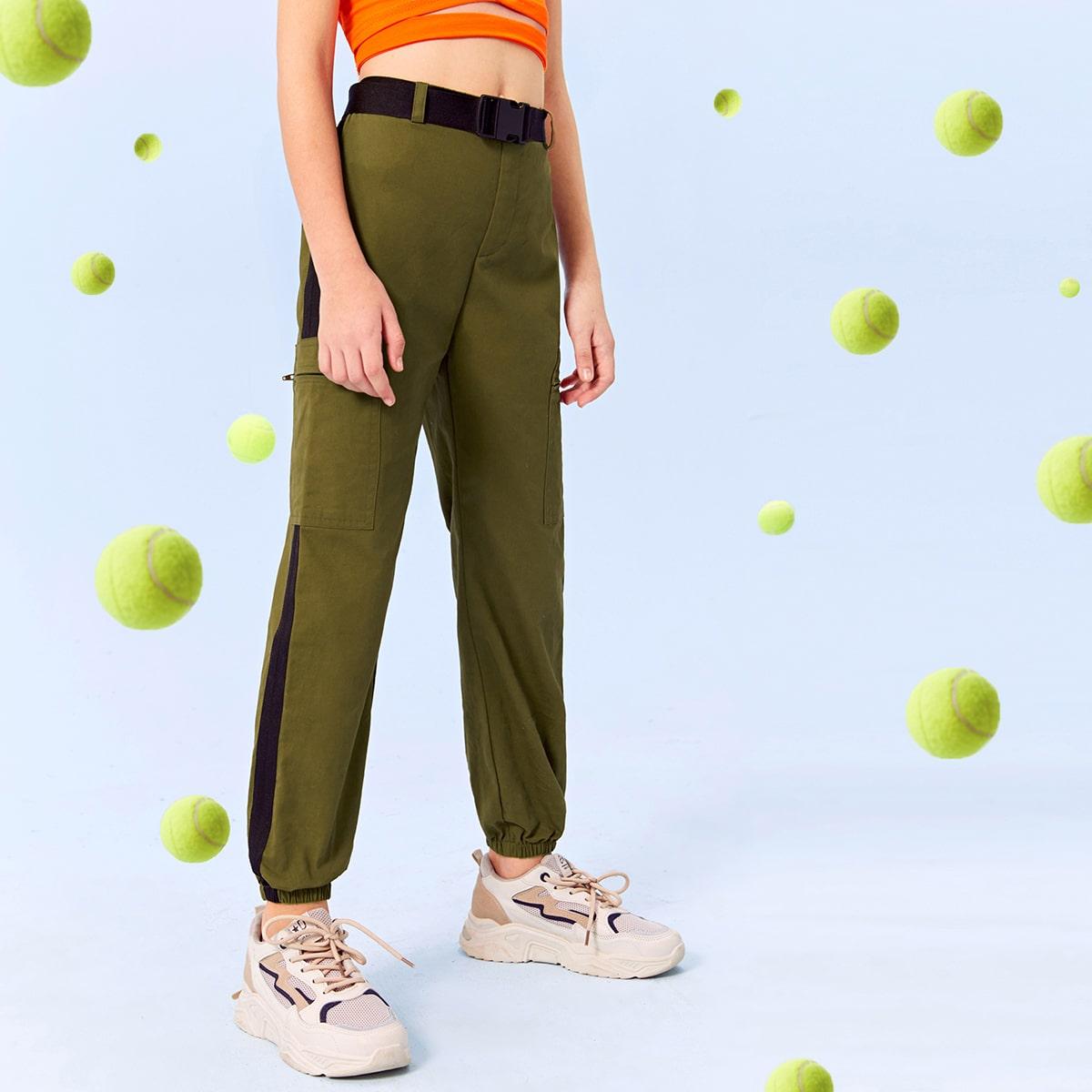 Контрастные брюки с карманом и поясом для девочек