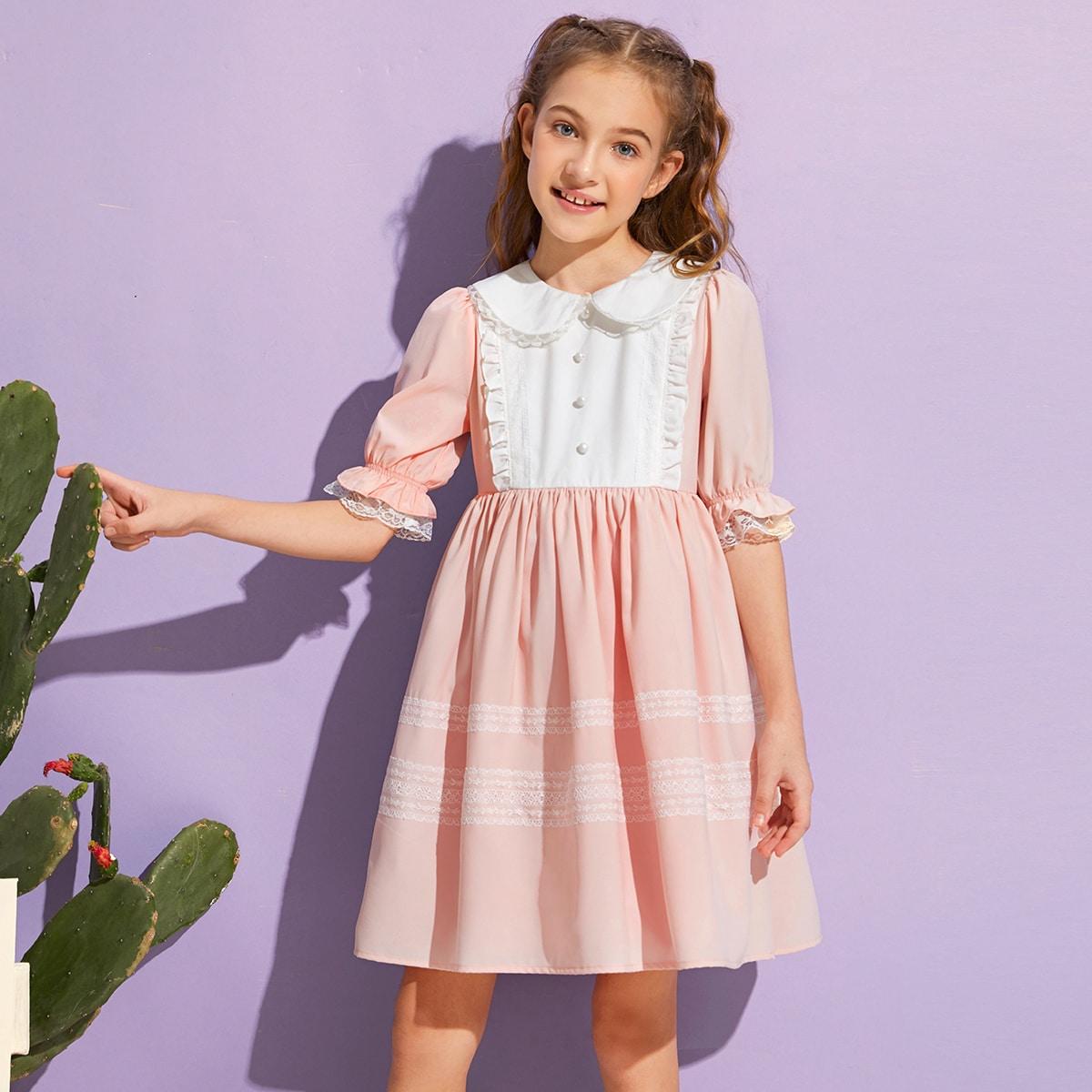 Двухцветное платье с кружевной отделкой для девочек