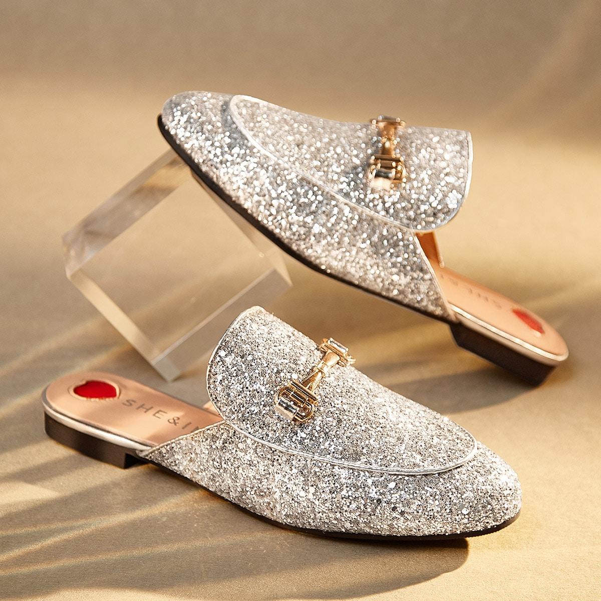 Металлический декор блестки loafer mules