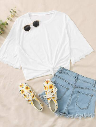 Plus Contrast Lace Cuff Solid Tee