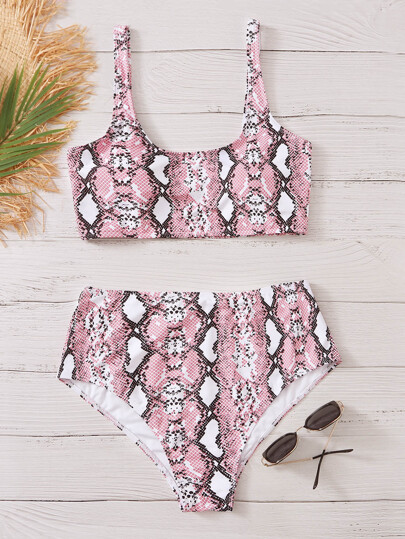 Plus Snakeskin High Waisted Bikini Swimsuit