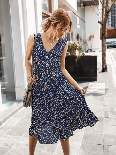 All Over Print Button Detail Sleeveless Dress