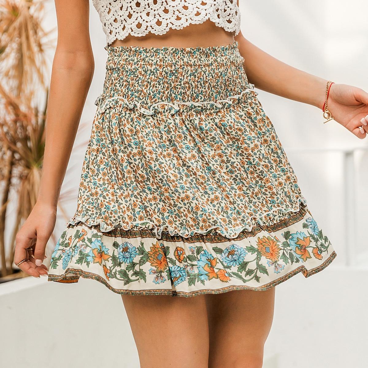 Многослойная цветочная юбка