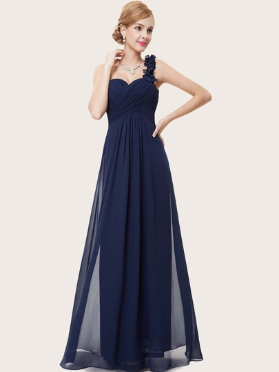 EverPretty Ruffle Strap Cross Wrap Ruched Bodice Prom Dress