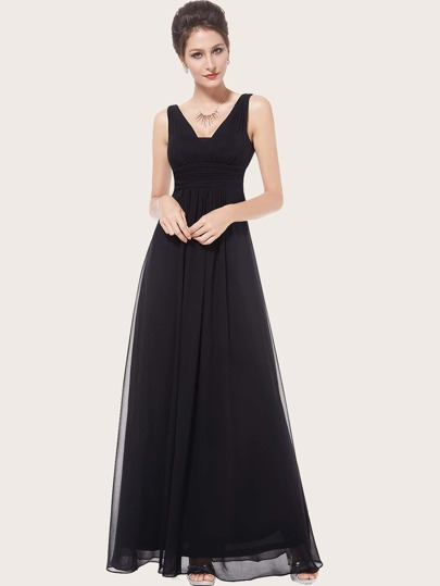 EverPretty V Back Ruched Empire Waist Maxi Prom Dress
