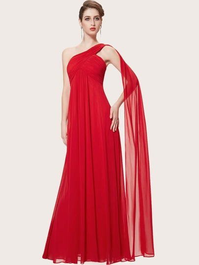 EverPretty Ruched Bodice One Shoulder Cape Prom Dress