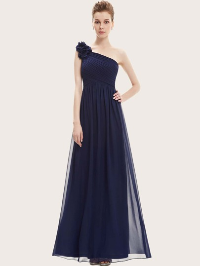 EverPretty Applique One Shoulder Ruched Bodice Prom Dress