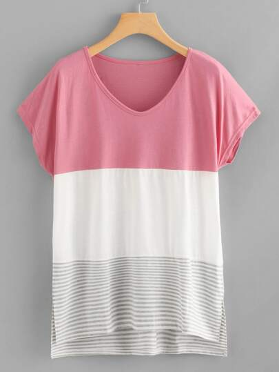 Split Hem Color Block Striped Tee