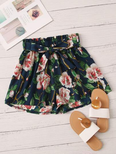 Floral Print Belted Shorts