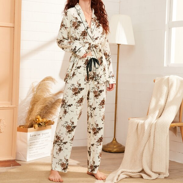 Floral Print Shawl Collar Belted PJ Set, Multicolor