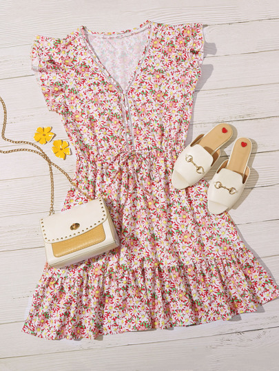 Allover Floral Ruffle Hem Drawstring Sundress