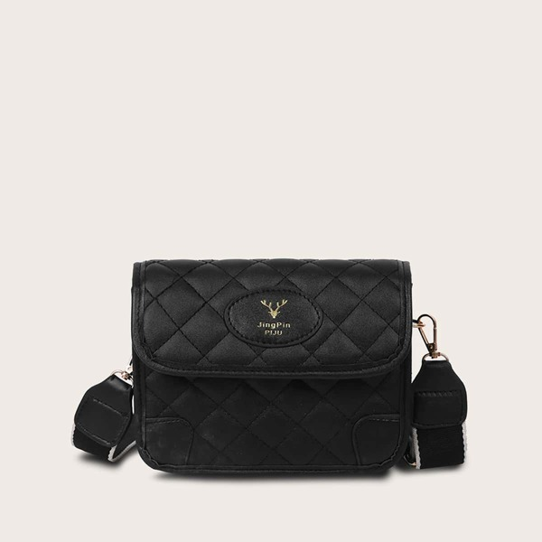 Quilted Flap Crossbody Bag, Black