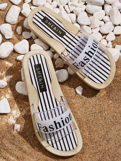 Striped & Letter Graphic Clear Sliders