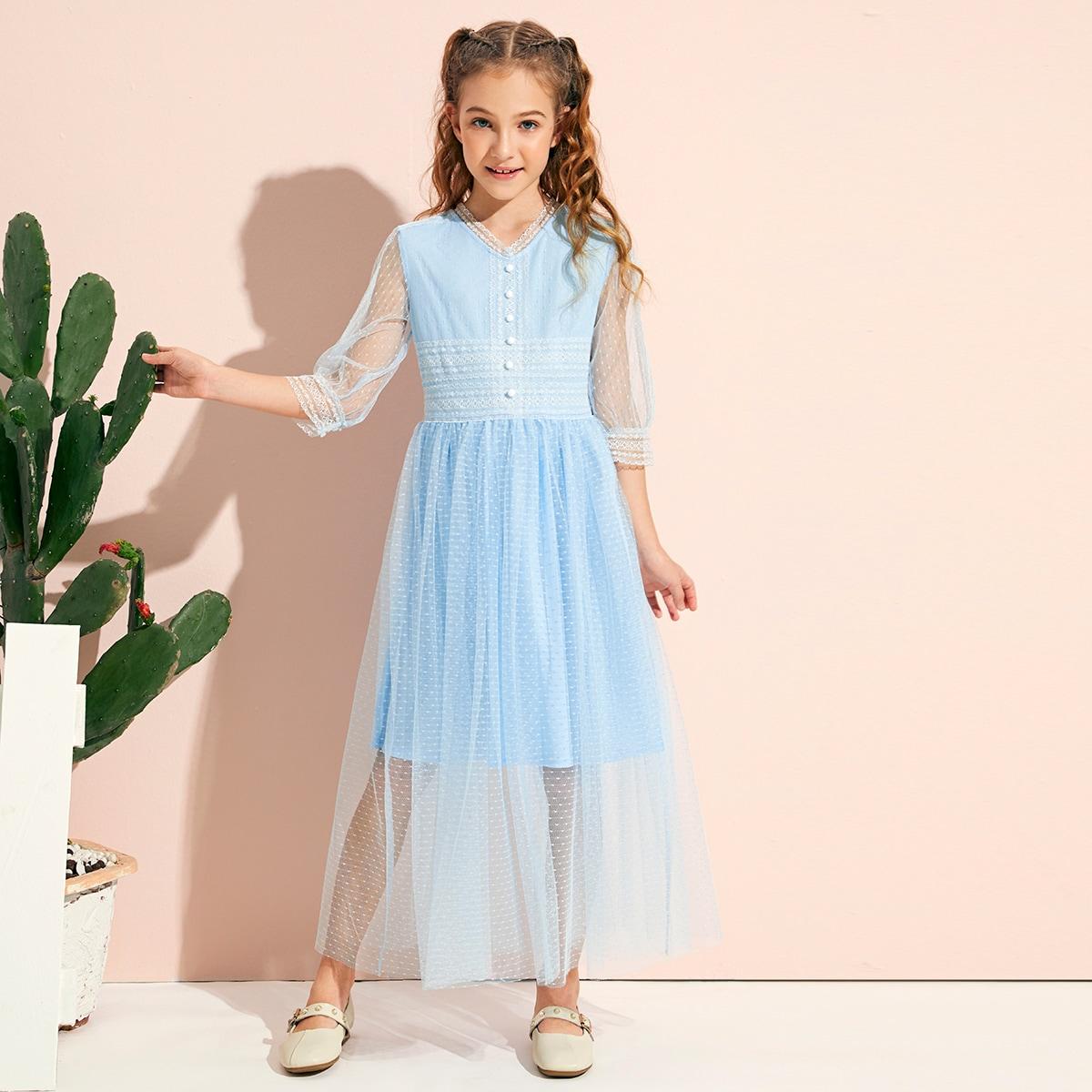 Сетчатое однобортное платье с кружевом для девочек