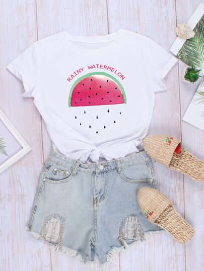 Letter & Watermelon Print Tee