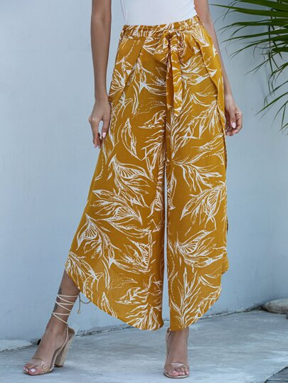 Tropical Print Wide Leg Belted Pants