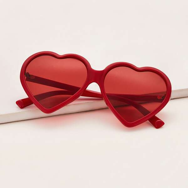 Girls Heart Shaped Acrylic Frame Sunglasses, Red