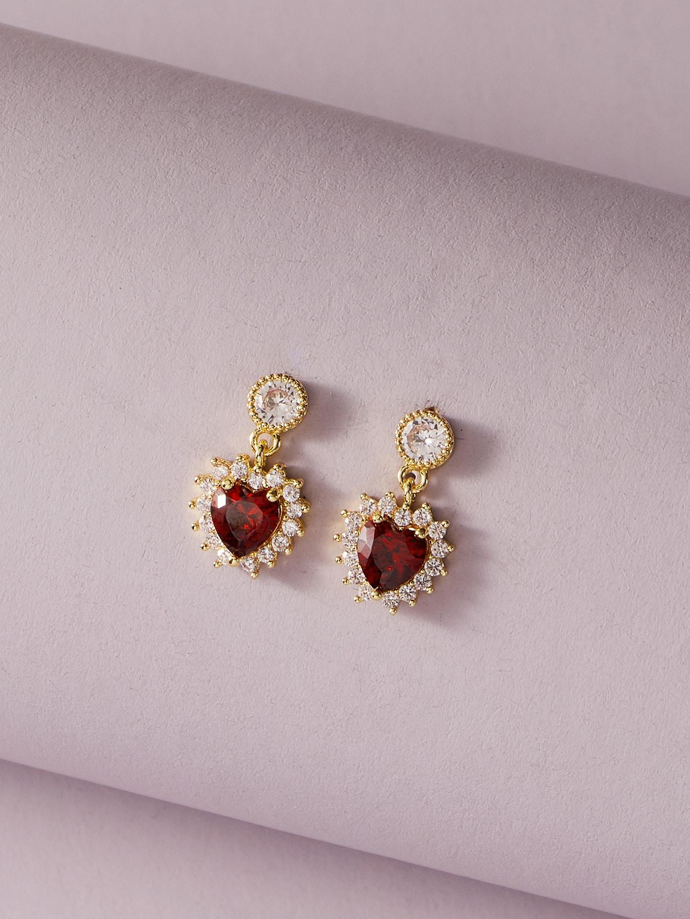 1pair Gemstone Decor Heart Drop Earrings thumbnail