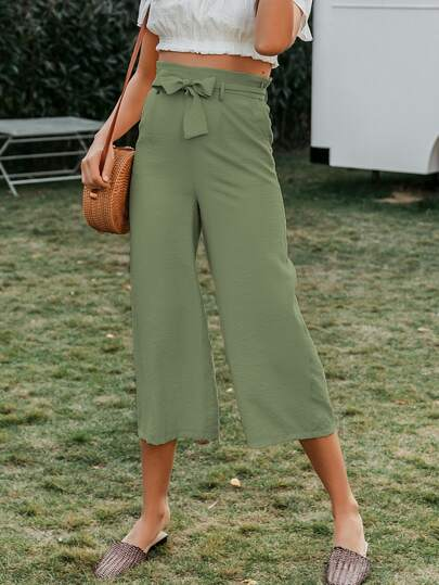 Simplee High Waist Belted Wide Leg Cropped Pants