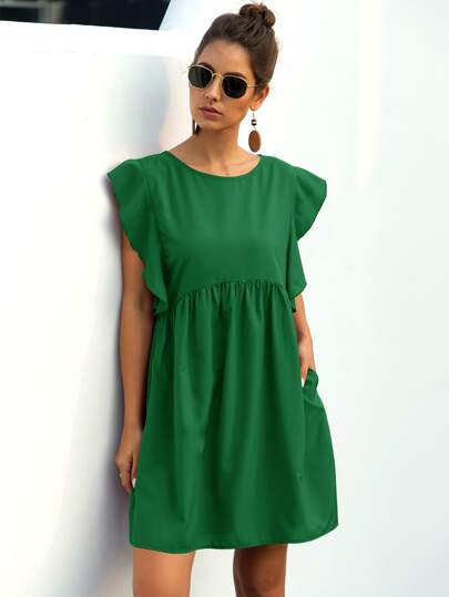 Ruffle Trim High Waist Smock Dress