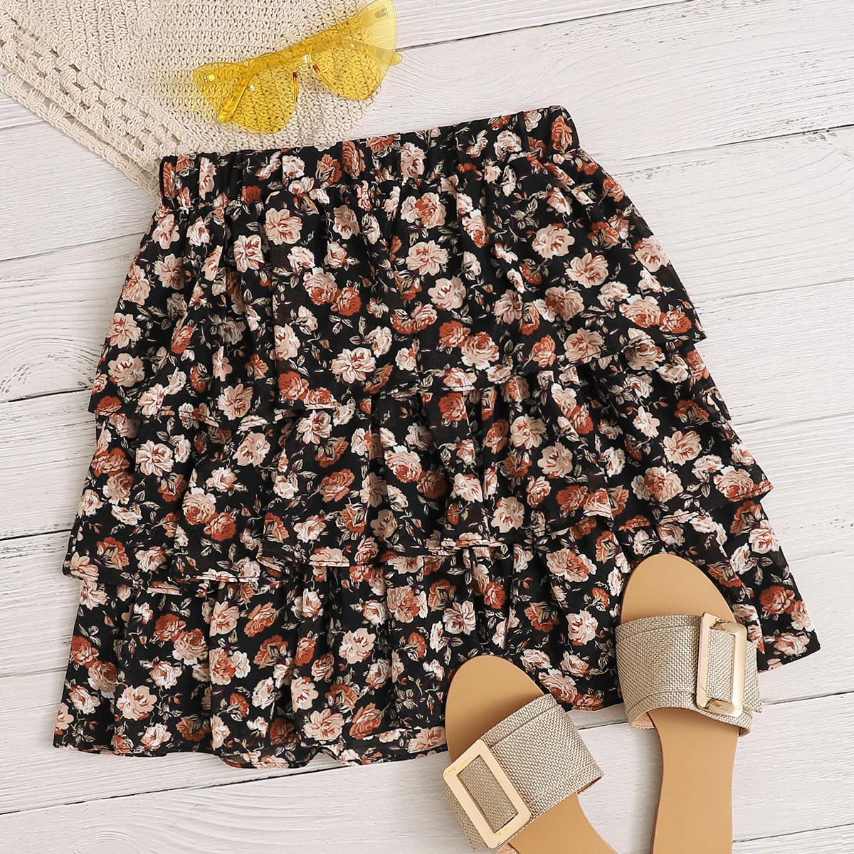 Многослойная юбка с цветочным принтом