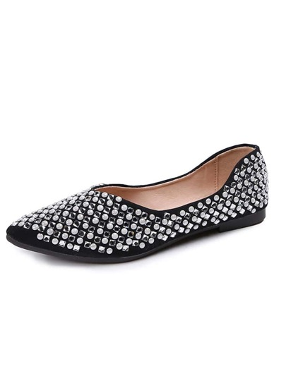 Rhinestone Decor Slip On Flats