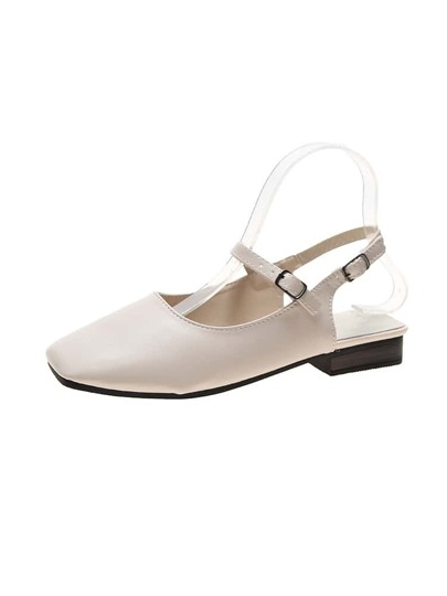 Square Toe Mary Jane Slingback Flats