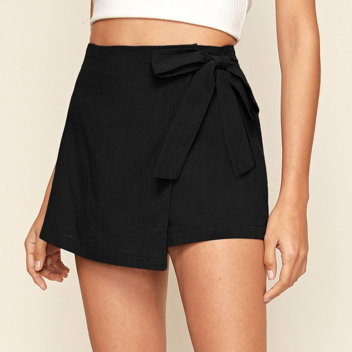 Асимметричные юбка-шорты на запах