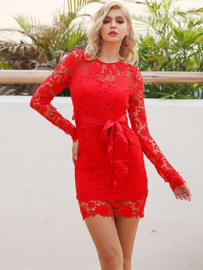 Missord Cut-out Belted Lace Dress