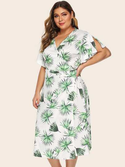 Plus Tropical Print Belted Wrap Dress