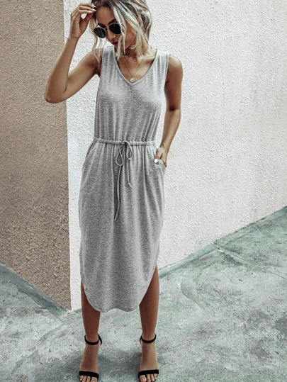 Drawstring Waist Curved Hem Tank Dress