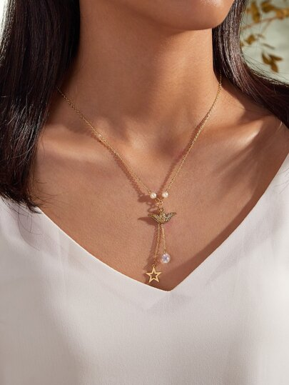 1pc Angel & Star Charm Layered Y Lariat Necklace